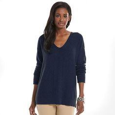 Chaps Textured Ribbed Sweater - Women's