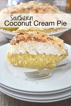 Southern Coconut Cream Pie   My husband's absolute favorite dessert is... coconut cream pie. For his birthday, I considered overnighting his favorite from Tina's in New Mexico. I snapped back to reality and made one instead. THIS coconut cream pie has nothing to hide -- no white flour, refined sugar, boxed pudding, or margarine.