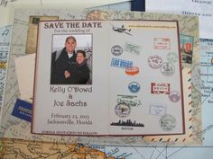 Travel theme wedding save the date
