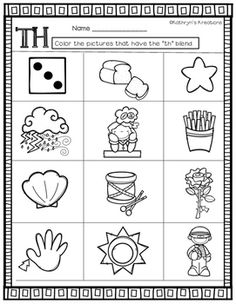 Th Blends: Color The Th Pictures by Kathryn's Kreations | Teachers Pay Teachers