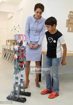Catherine Duchess of Cambridge attends a robotics class at Bouwkeet workshop project for teenagers on October 11 2016 in Rotterdam Netherlands