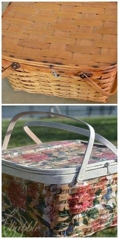 Picnic Basket Makeover - Use paper napkins and Mod Podge to decoupage an old picnic basket