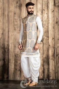 Buy Mangaldeep Off White Silk Indo Western Sherwani online in India at best price.p Awesome Cream coloured Silk fabric kameez designed with thread work and fancy button. Mens Indian Wear, Mens Ethnic Wear, Indian Groom Wear, Indian Men Fashion, Groom Fashion, Wedding Dresses Men Indian, Wedding Dress Men, Indian Dresses, Indian Outfits