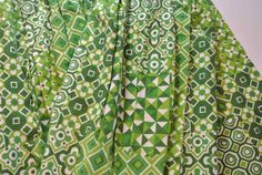 Vintage Mod Drapes Pleated Geometric Green via Etsy