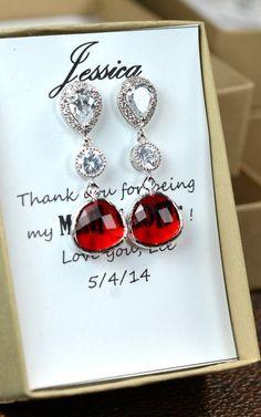 Bridal Drop Bridal Jewelry Wedding Dangle ruby by thefabwedding2, $35.99