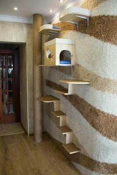 Cat& House in Moscow apartment House Shelves, Cat Shelves, Carpentry And Joinery, Diy Cat Tree, Teen Bedroom Designs, Cat Stands, Cat Playground, Dog Furniture, Cat Garden