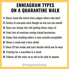 """Abbey Howe on Instagram: """"I've been going on LOTS of quarantine walks since all gyms are closed in Los Angeles! I feel a mixture of 1, 3, and 5. How about you?"""" #enneagram #enneagramwithabbey Enneagram Type 3, Type One, Self Conscious, Feeling Stuck, Love Languages, Self Awareness, Personality Types, Self Development, The Funny"""