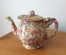 "RARE Vintage Royal Winton ""Sunshine"" Chintz Teapot with Lily Handle & Finial"