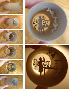 Science themed toilet roll art