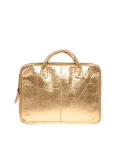 Leather Metallic Laptop Case / ASOS