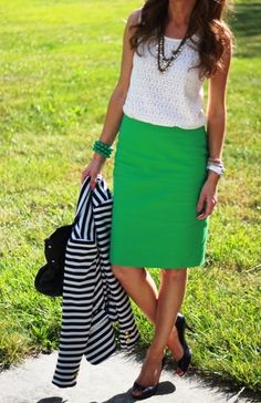 """15 Of The Best Summer Outfits For Work"" is where this image comes from. After looking over the creations from Fashion Week for Spring 2014, the stripes, the grass green ... all very CURRENT for the coming year."