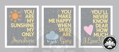 Grey and Yellow 3pc YOU ARE my SUNSHINE prints by StudioLO2011, $45.00