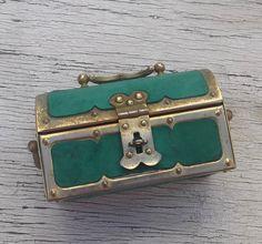 REDUCED Antique Treasure Chest Jewelry Box, Mini Pirate Chest Trinket Box