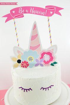 Happy Birthday Cake topper Printable Beautiful Unicorn Cake topper Printable with Flowers Unicorn Party Unicorn Birthday Invitations, Unicorn Birthday Parties, Unicorn Party, Birthday Cake, Happy Birthday, Unicorn Cake Topper, Unicorn Cupcakes, Zucchini Cake, Savoury Cake