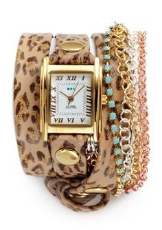 LA MER COLLECTIONS Leopard/Gold Triple Wrap Chain & Crystal Watch