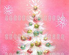 Digital download vintage Christmas tree card, mod white tree with ornaments and pink background with