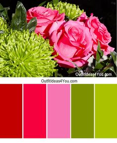 Outfit Color Combination - Pink, Red, Green. For outfit ideas and fashion style tips, visit: http://OutfitIdeas4You.com