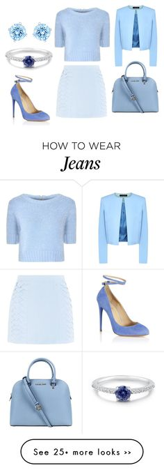 """""""Everything is Blue, his eyes, his pills, his jeans"""" by musicmagic38 on Polyvore featuring Glamorous, Cutie, Aquazzura, Michael Kors, Jaeger, BERRICLE and Swarovski"""