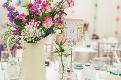 Jugs with Pretty Mixed Flowers in Pink and Purple