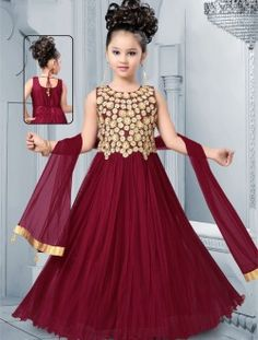Party Wear Coffee Net Embroidered Work Kids Wear Anarkali Suit