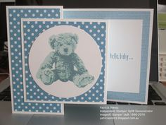 Baby card boy Card - made using Stampin' Up Baby Bear stamp set. Colours are Marina Mist, Pool Party and Soft Sky. Baby Boy Cards Handmade, New Baby Cards, Fancy Fold Cards, Folded Cards, Bebe 1 An, Baby Shower Cards, Tampons, Kids Cards, Homemade Cards