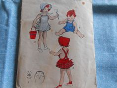 Vintage Sewing Pattern Butterick 6144 Toddlers Girls Ruffled Sunsuit -Bonnet