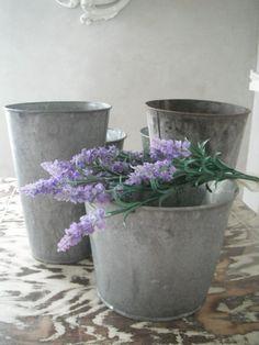Vintage tin buckets