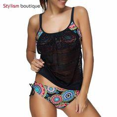 5d8ec40d3a9 Ethnic Swimwear Sexy Swimsuit Women Plus Size 2 Pieces Tankini Sets Bathing  Suits Female Patchwork Meshm 07403