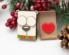 Funny Christmas Card Matchbox/ Dog Christmas Greeting Card/ Personalized Holiday Card/ Custom New Year Card/ Small Gift box/ Merry Christmas