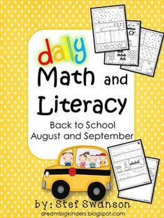 Daily Math and Literacy Back to School {August and September} Common Core  40 pages (8 weeks) of MORNING WORK or Nightly Homework! Daily Math and Literacy mini review worksheets!  dreambigkinders.blogspot.com