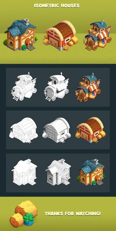 Casual isometric houses on Behance