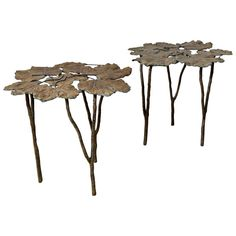 Pair of Leaf Bronze Side Tables | From a unique collection of antique and modern side tables at http://www.1stdibs.com/furniture/tables/side-tables/