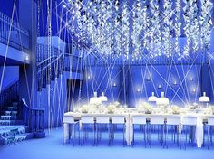 Bon Appetit Supper Club--- Blue and white.  Inspiring, exciting decor which was designed by The Rockwell Group.