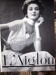 1953 L'Aiglon Apparel Fashion Vintage Women's Clothing Ad