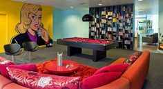 colourful wall graphics office design - Google Search