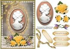 Lovely Cameo Lady and Yellow Roses on Craftsuprint - Add To Basket!