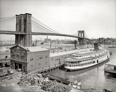 Inch Print - High quality print (other products available) - BROOKLYN BRIDGE, <br> Steamboat parked at a marine terminal next to the Brooklyn Bridge, New York. Photograph, - Image supplied by Granger Art on Demand - Photo Print made in the USA New York Pictures, Old Pictures, Old Photos, Vintage New York, Vintage Photographs, Vintage Photos, New York City, Brooklyn Bridge New York, Brooklyn Image
