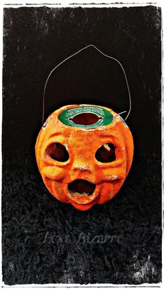 Pre-1950s Paper Mache Pumpkin Jack O by LoveBizarreOddities