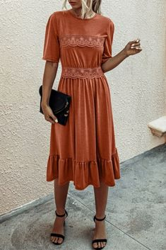 Elegant Lady Lace Dress Modest Dresses, Modest Outfits, Fall Dresses, Modest Fashion, Cute Dresses, Fall Outfits, Casual Dresses, Cute Outfits, Fashion Outfits
