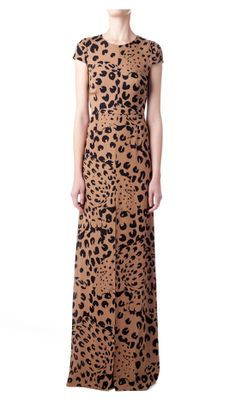 Jenni Kayne signature cap sleeve gown comes back in the Fall 2008 leopard print with hidden zipper closure in back. Front slit.