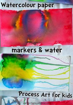 Learn with Play at Home: Watercolour Paper and Markers. Process Art for kids Preschool Arts And Crafts, Art Activities For Kids, Art For Kids, Crafts For Kids, Process Art Preschool, Library Activities, Dog Crafts, Preschool Themes, Summer Activities