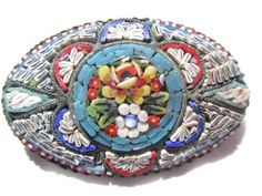 MICROMOSAIC MICRO MOSAIC ITALY LARGE FLOWER TURQUOISE STAR PATTERN OLDE WORLD