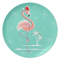 Shop Christmas Flamingo Season's Greetings melamine Plate created by QuirkyChic. Personalize it with photos & text or purchase as is! Tropical Christmas, Christmas Rock, Christmas Flamingo, Christmas Crafts, Christmas Labels, Christmas Ideas, Christmas Artwork, Christmas Journal, Summer Christmas