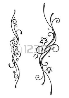 Tattoo Tribal with stars in black and grey Stock Vector