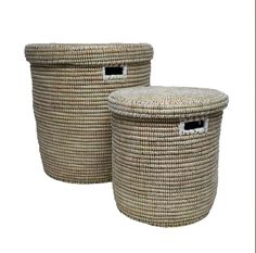 Large Woven Flat Lid Basket - White: A best seller at Alresford Linen Co. These baskets, woven in Africa, are a great item to have in your home. Whether they're used for laundry in a bedroom or toys in a playroom they provide great storage, stylishly.  - One of a kind product, size, shape and colour will vary slightly - Woven of plastic strips and millet grass - Handles allow for easy portability - Lidded top - Wipe clean