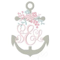Spring split anchor beautifully adorned with modern greenery and flowers.  The font shown is our Carried Away monogram.  We love the balance of classic nautical and modern femininity in this design.