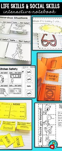 Life skills and social skills interactive notebook. Great for special education classrooms. Topics included are hygiene, personal space, safety, gaining attention, behavior, bus safety, and much more!