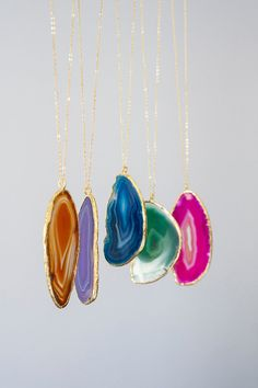 Large Slice Agate Necklace, Boho Necklace, Tribal Neckalce, Layering Necklace, Gold Necklace, Gemstone Necklace,Gift For Her