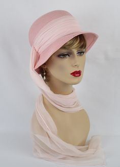 Pink Straw Brimmed Cloche with Long Chiffon Neck Scarf Beautiful delicate pink pink straw cloche with a long neck scarf which is part of the hatband. Neck Scarves, Grosgrain Ribbon, Vintage Looks, Chiffon, Vintage Fashion, Ladies Hats, Elegant, Backstage, Vintage Ladies