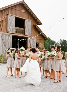 bridesmaids in taupe | Mandy Busby #wedding